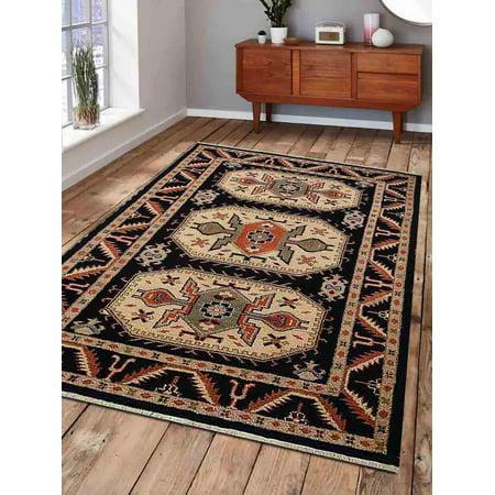 - Rugsotic Carpets Hand Knotted Afghan Wool And Silk 6'x9' Area Rug Kazak Black Cream AF0109