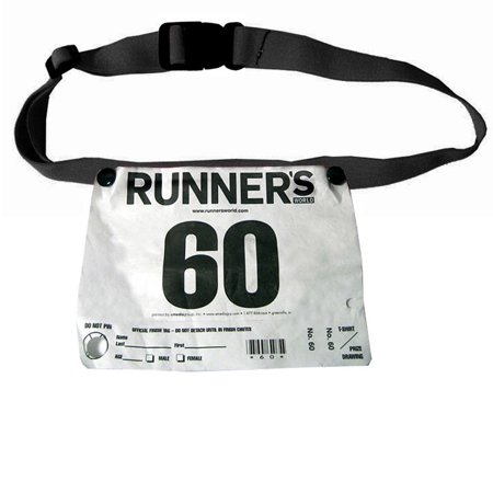 BLACK RACE NUMBER BELT WAIST TRIATHLON MARATHON RUNNING SPORT TRAINING SIZE