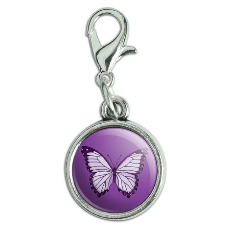 Purple Butterfly Antiqued Bracelet Pendant Zipper Pull Charm with Lobster