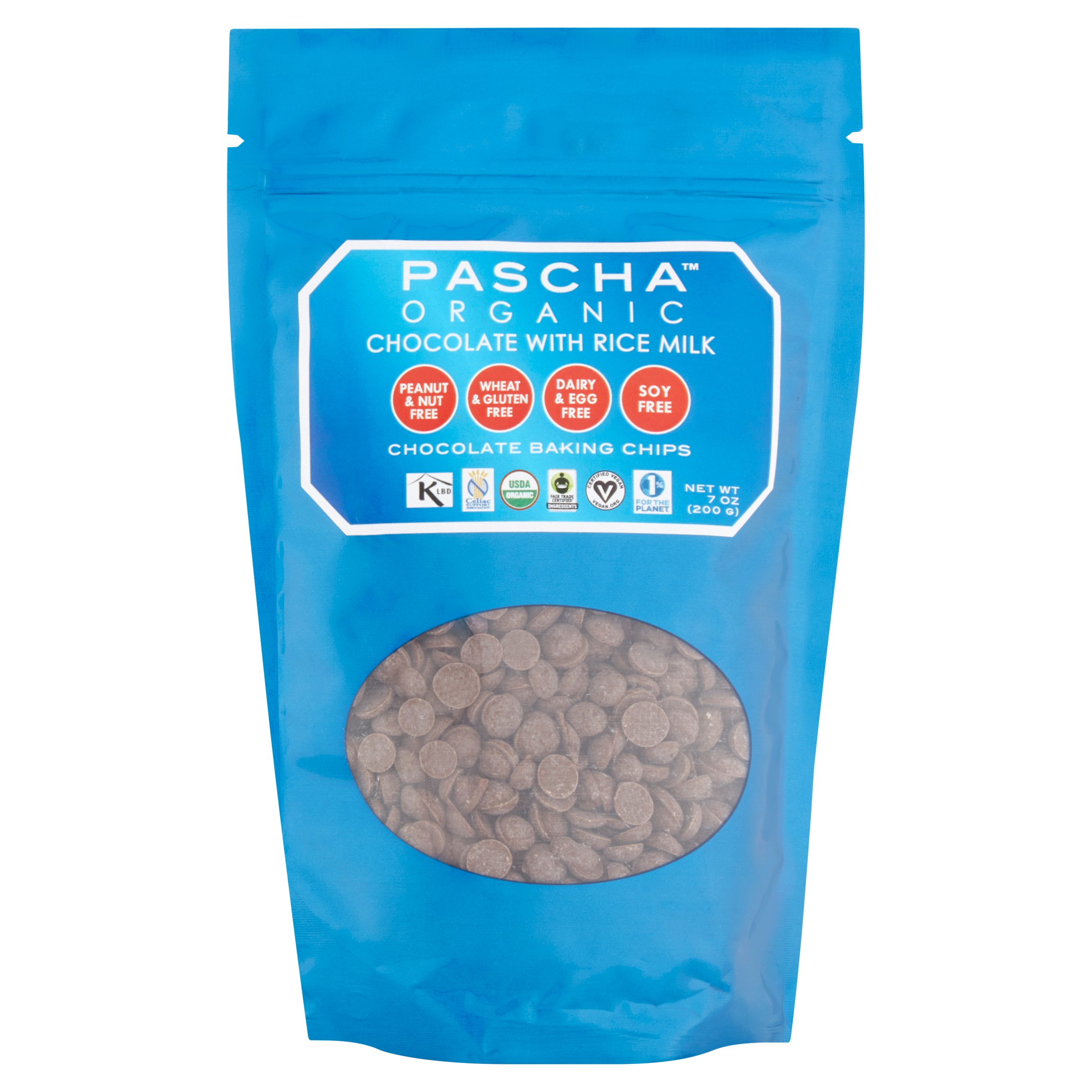 Pascha Organic Chocolate Baking Chips with Rice Milk, 7 oz, 8 pack by Pascha Chocolate Co