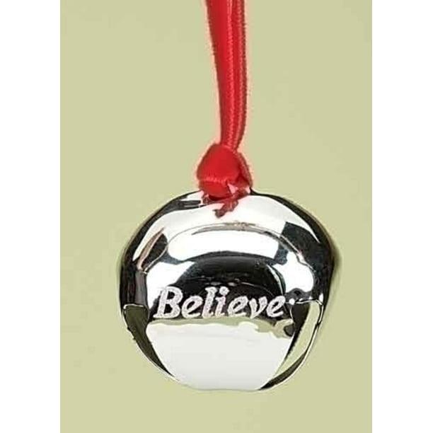"1.5"" Christmas Traditions Believe Silver Metal Jingle Bell Christmas Ornament - Walmart.com ..."