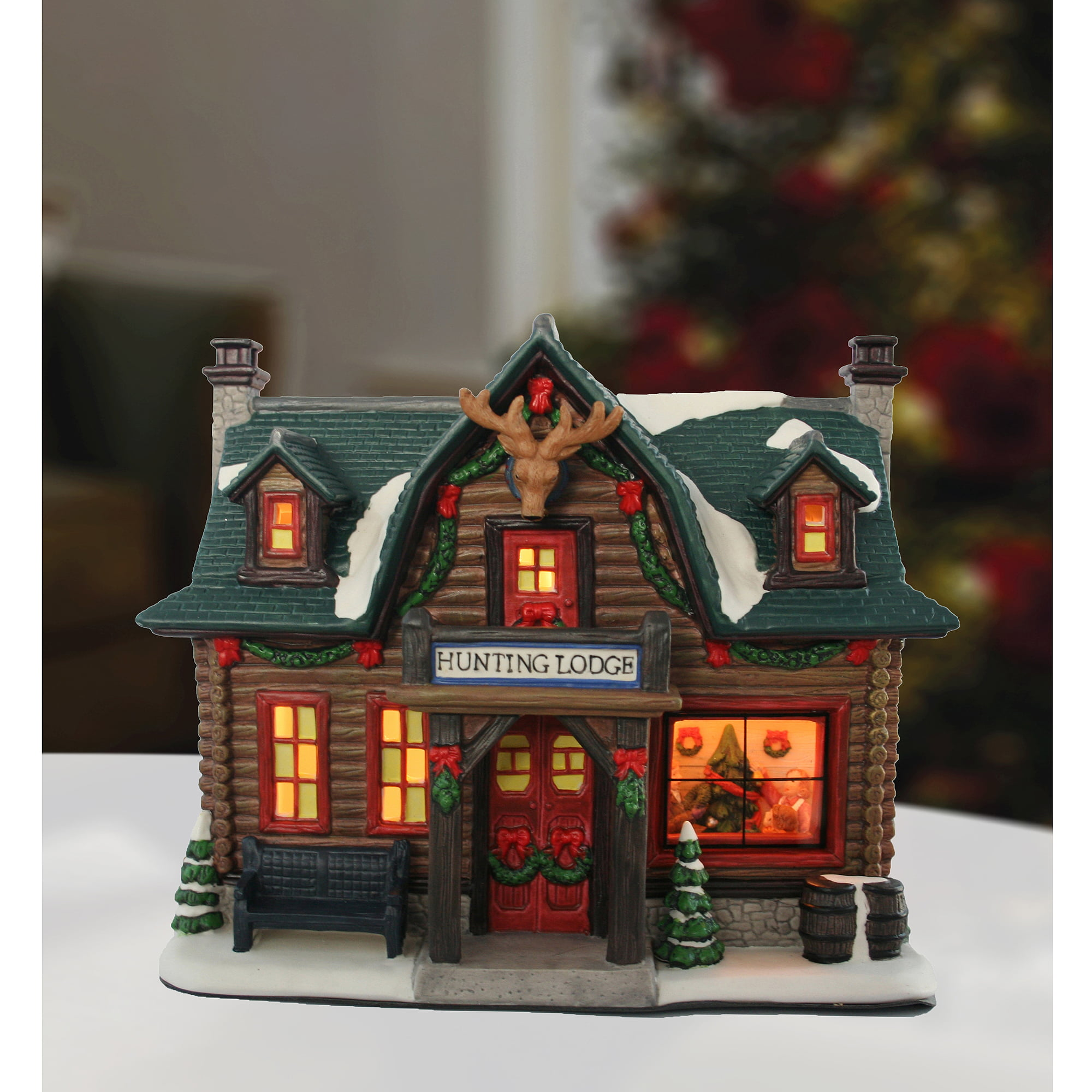 holiday time porcelain hunting lodge christmas decoration walmartcom - Christmas Village Decorations