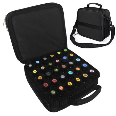 42 Bottles Essential Oil Box Organizer Travel Bag with Foam Insert , Essential Oil Holder Carrying Case Hold 15 ml Aromatherapy Bottles Shoulder Strap Sturdy Double Zipper ()