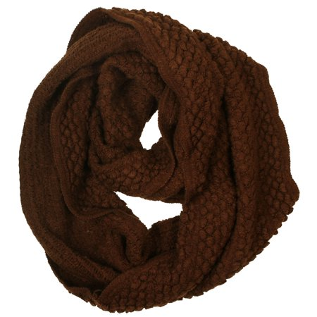 Crochet Ruffle Scarf - Women's Soft Crochet Knit Warm Winter Infinity Circle Scarf, Coffee3
