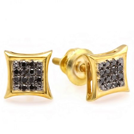 14K Yellow Gold Black Round Diamond Micro Pave Setting Kite Shape Stud Earrings 1/10 (Best Setting For Yellow Diamond)