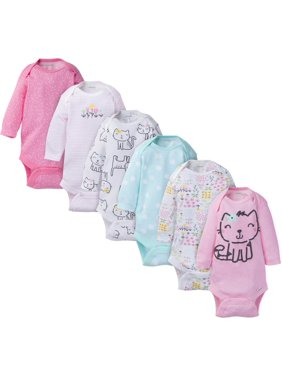 Onesies Brand Baby Girl Long Sleeve Bodysuits Set, 6-Pack