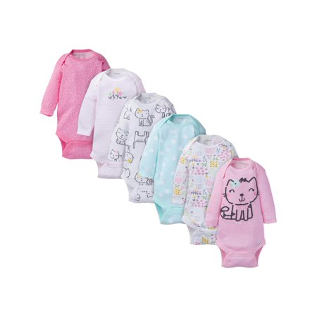 Assorted Long Sleeve Bodysuits Set, 6pk (Baby Girl) Baby Deer Long Sleeve Onesie