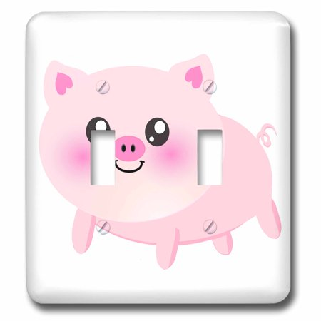 3dRose Cute happy pig cartoon - pink kawaii farm animal - nursery kids child - porker pork bacon ham - Double Toggle Switch
