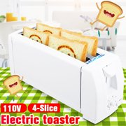 110V 2/4 Slices Electric Automatic Bread Toaster Household Stainless Steel Toast Machine