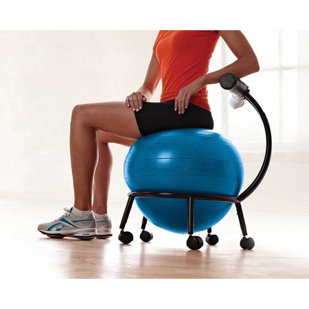 Gaiam Custom-Fit Balance Ball Chair - Exercise Stability Ball Adjustable Desk Chair for Home or Office with 55cm Yoga Ball Air Pump Exercise Guide and Satisfaction Guarantee Blue - image 6 of 7