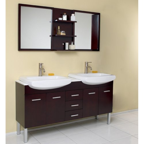 Fresca Vetta Espresso 59-in. Modern Double Sink Bathroom Vanity & Mirror FVN6193ES