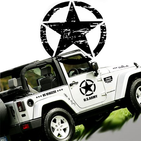 Xotic Tech for Jeep Front Hood Sticker - Black Army Military Star 20