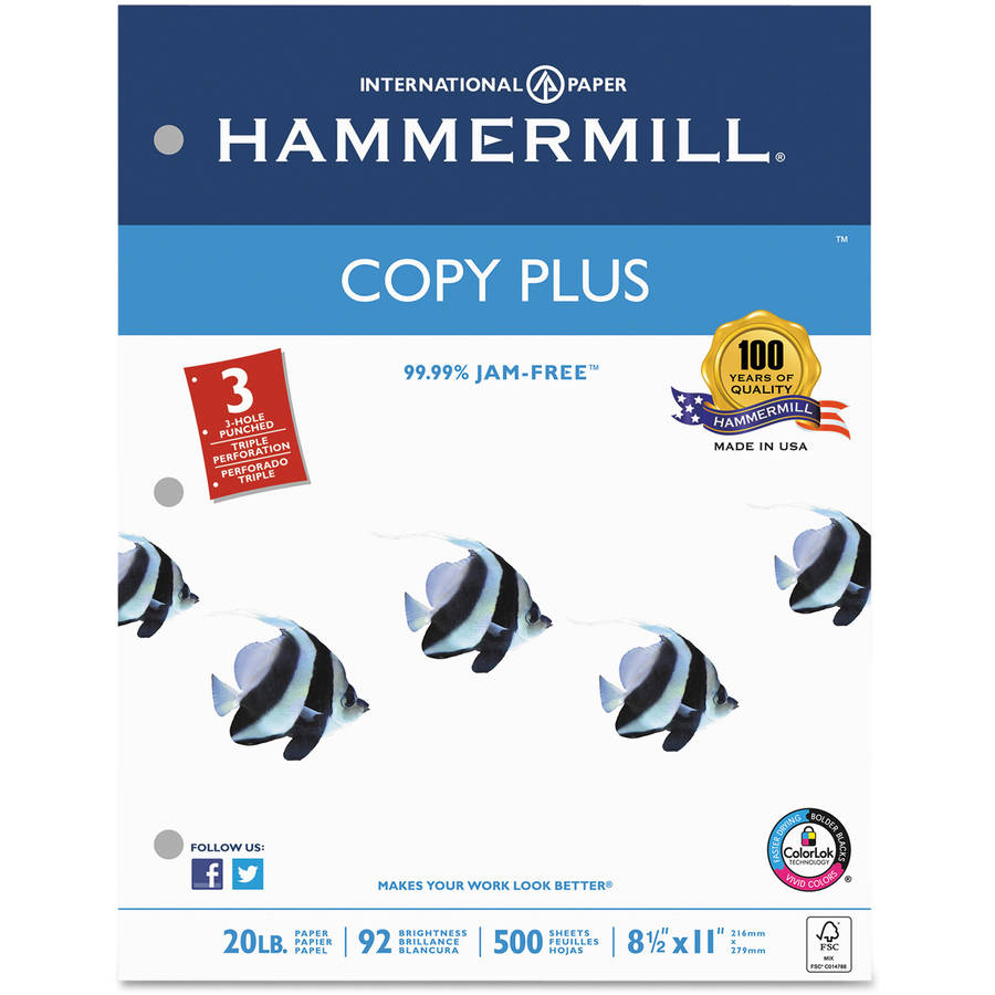Hammermill Copy Plus Copy Paper, 3-Hole Punch, 92 Brightness, 20lb, Letter, White, 500 Sheets/Ream