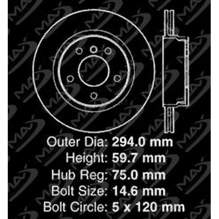 Max Brakes Rear Premium Brake Kit [ OE Series Rotors + Ceramic Pads ] KT024642 | Fits: 2005 05 2006 06 BMW 325Ci E46 Models - image 7 de 8