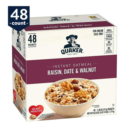 Oatmeal Raisin Walnut - Quaker Instant Oatmeal, Raisin Date & Walnut, 48 count