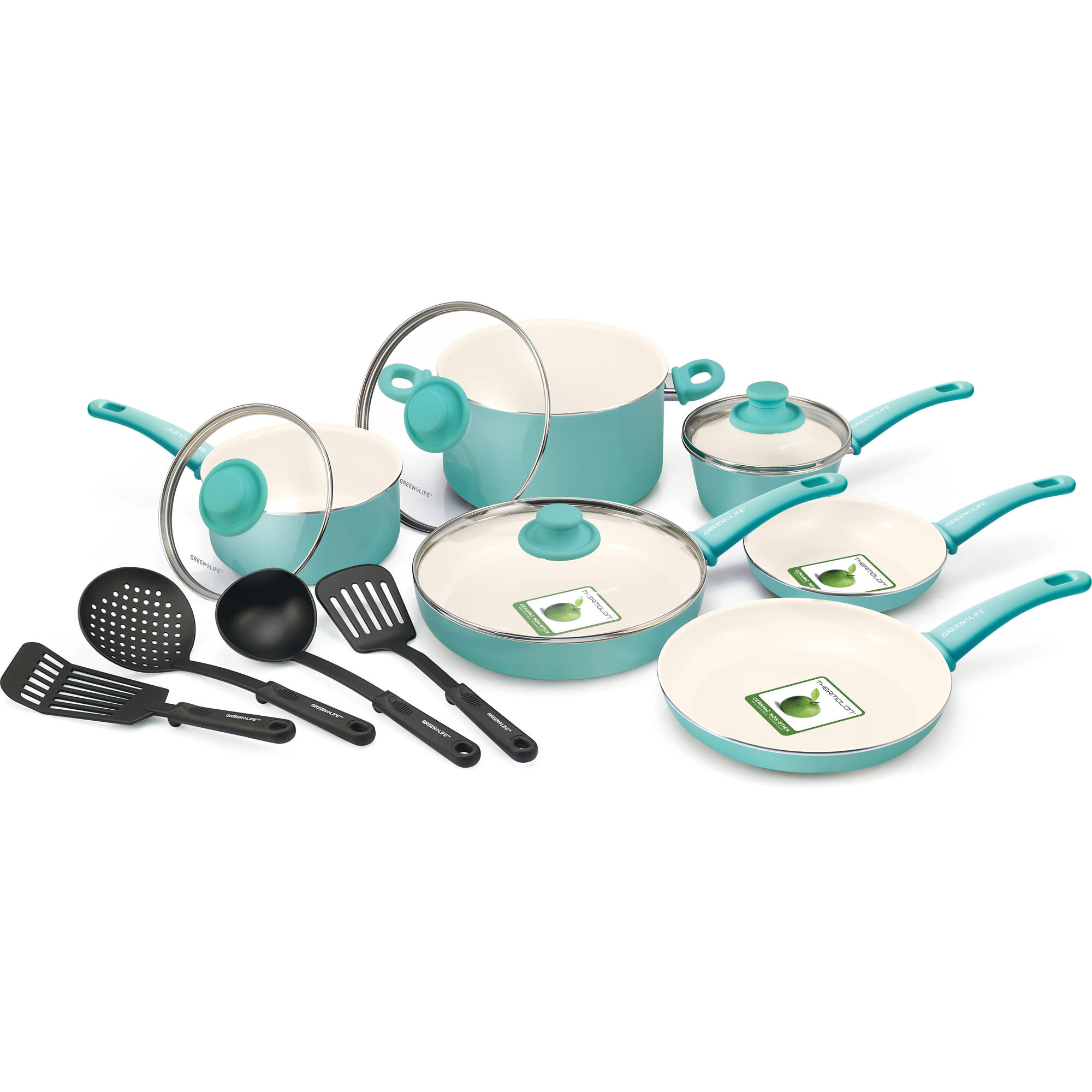 GreenLife 14pc Soft Grip Ceramic Non-Stick Cookware Set Turquoise