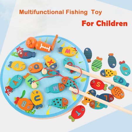 【YIWULA】Magnetic Wooden Fishing Game Toy For Toddlers Alphabet Fish Catching thumbnail
