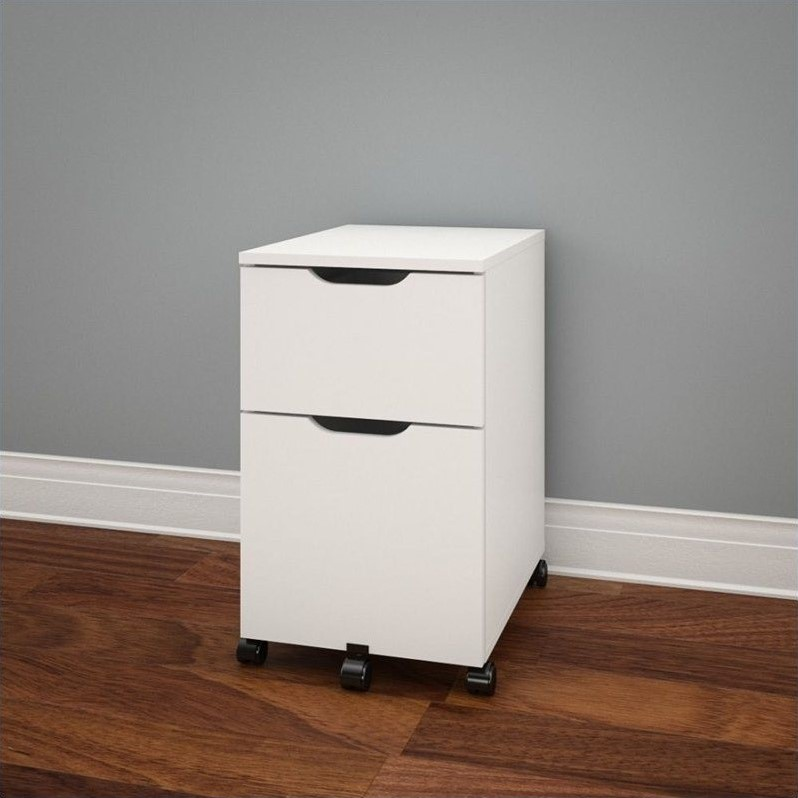 Nexera 2 Drawer Vertical Wood Filing Cabinet, White