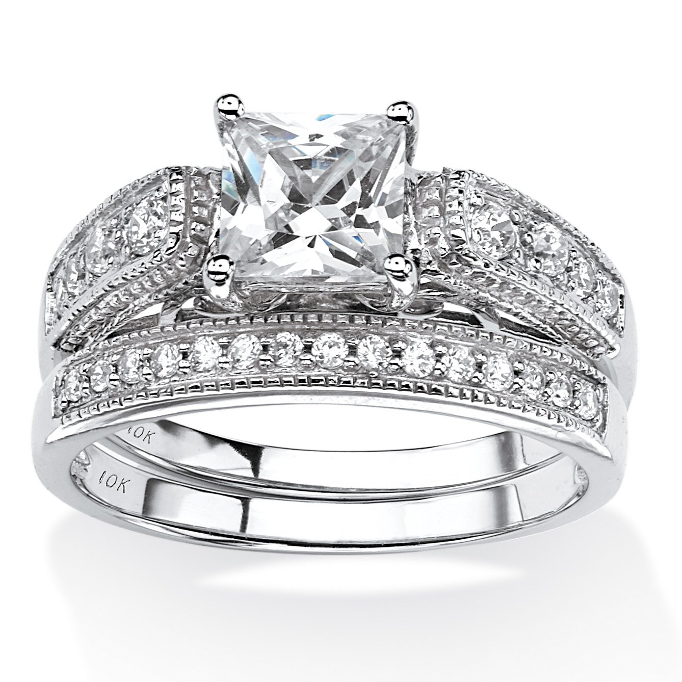 1.50 TCW Princess-Cut Cubic Zirconia Two-Piece Vintage Bridal Set in 10k White Gold