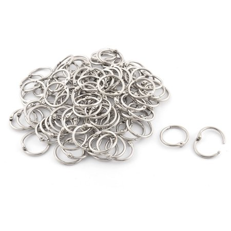Unique Bargains 100 Pcs Metal 7.8  Loose Leaf Ring DIY Card Book Photo Album Binder Key chain Silver Tone