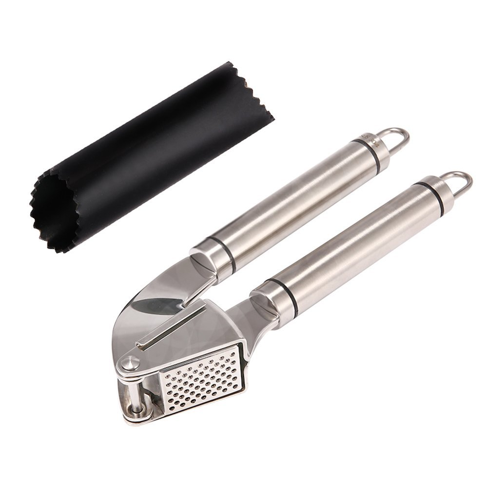 304 Stainless Steel Garlic Press and Peeler Set,Best Peeling Press Mincer and Silicone Tube Roller by