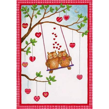 Valentine's Day Card 86405.14 Owls On Swing Valentine Card](Valentine Owl)