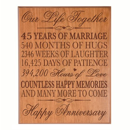 Cherry Veneer Cocktail (45th Wedding Anniversary Wall Plaque - Our Life Together - 12x15 (Cherry Veneer) )