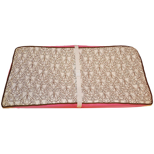 Bacati - Damask Quilted Top 100% Cotton Percale with Polyester Batting Diaper Changing Pad Cover, Pink/Chocolate