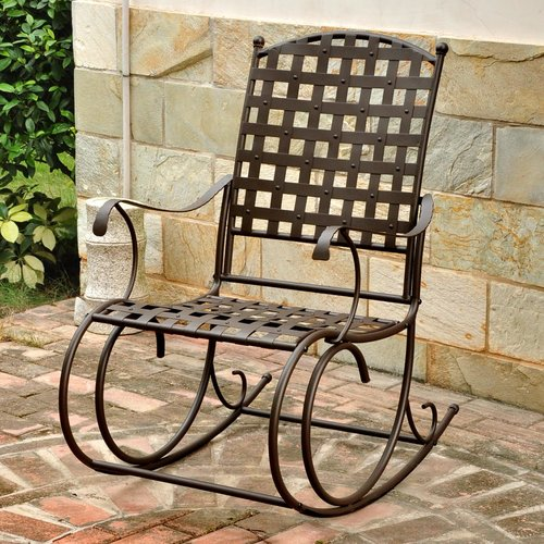 Alcott Hill Schilling Nailhead Iron Patio Rocking Chair