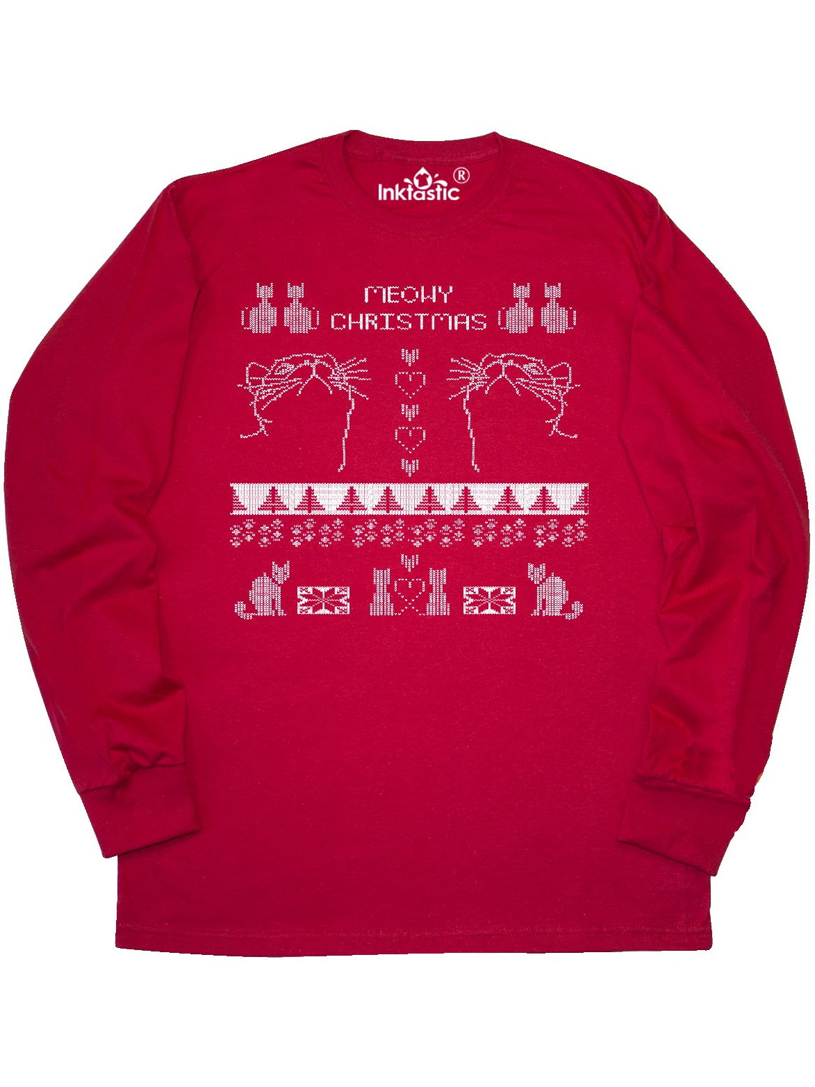 Meowy Christmas Sweater.Meowy Christmas Faux Christmas Sweater Long Sleeve T Shirt