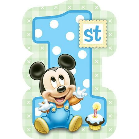 Mickey Mouse 1st Birthday Invitations w/ Envelopes (8ct)