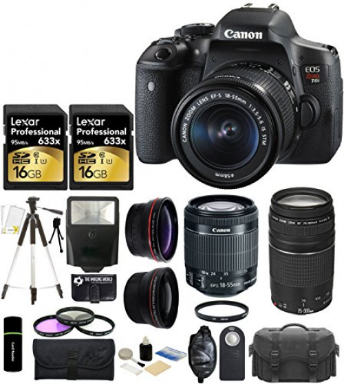 Canon EOS Rebel T6i 24.2MP CMOS Digital SLR Camera with EF-S 18-55mm f/3.5-5.6 IS STM Lens + Canon Zoom Telephoto EF 75-300mm f/4.0-5.6 III Autofocus Lens + 58mm Telephoto Lens + Wide Angle Lens + Ca