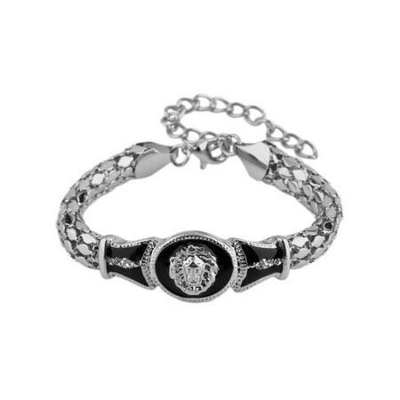 Art Deco Diamond Bracelets (Novadab Estate Lion Emblem Art Deco Statement)