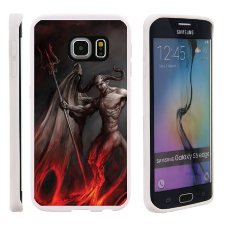 Samsung Galaxy S6 Edge G925, Flexible Case [FLEX FORCE] Slim Durable TPU Sleek Bumper with Unique Designs - Demon with Wings