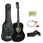 """ZENY 38"""" New Beginners Acoustic Guitar With Guitar Case, Strap, Tuner and Pick Black"""