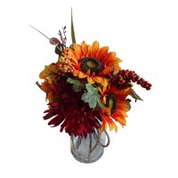 Way to Celebrate Harvest Multicolor Sunflowers and Mums in Glass Jar Thanksgiving Artificial Flower Arrangement
