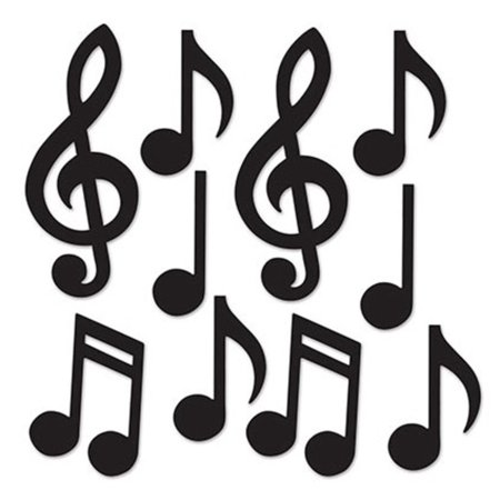 Club Pack of 240 Black Mini Musical Notes Cutout Silhouettes 5.5