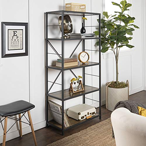 We Furniture 4 Shelf Rustic Wood Metal Bookcase Bookshelf Storage 60 Inch Brown Reclaimed Barnwood Walmart Canada