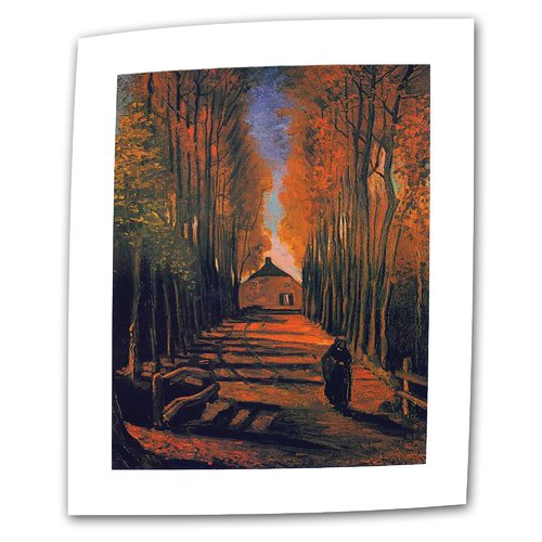 ArtWall ''Avenue of Poplars in Autumn'' by Vincent van Gogh Painting Print on Canvas