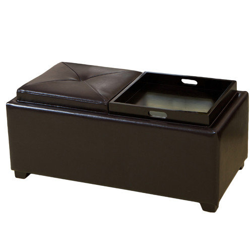Home Loft Concepts Powell Leather Storage Tray Ottoman