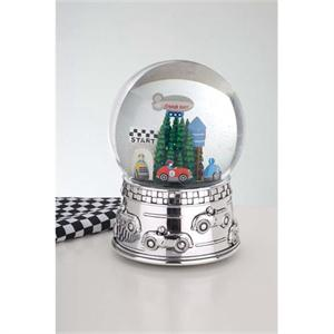 RACE CAR WATERGLOBE, SILVER PLATE AND GLASS