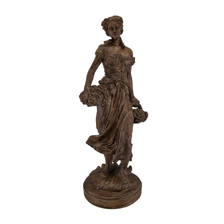 Fresh Harvest Maiden Carrying Baskets Rustic Wood Look Statue ()