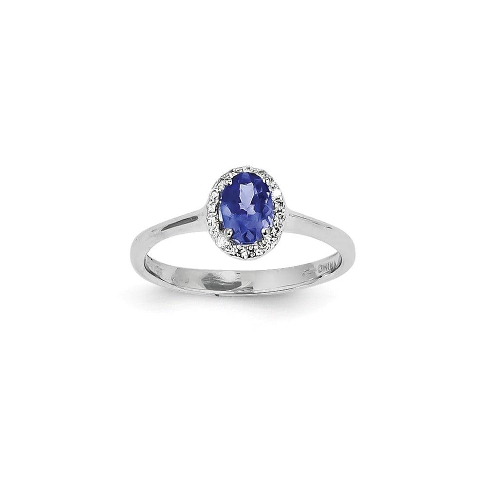 14K White Gold Oval Tanzanite Diamond Gemstone Ring