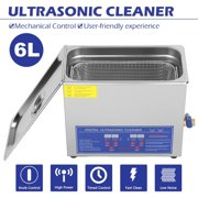 Professional Commercial Ultrasonic Cleaner Large Capacity Stainless Steel with Heater and Digital Timer for Electronic Tool Jewelry Watch Glasses Rings Dental Lab Hospital Instruments (6L)