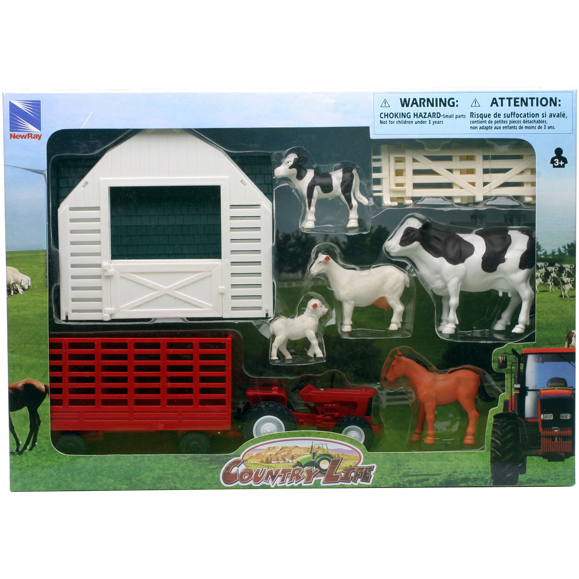 Country Life Farm Animal and Barn Set by New-ray Toys