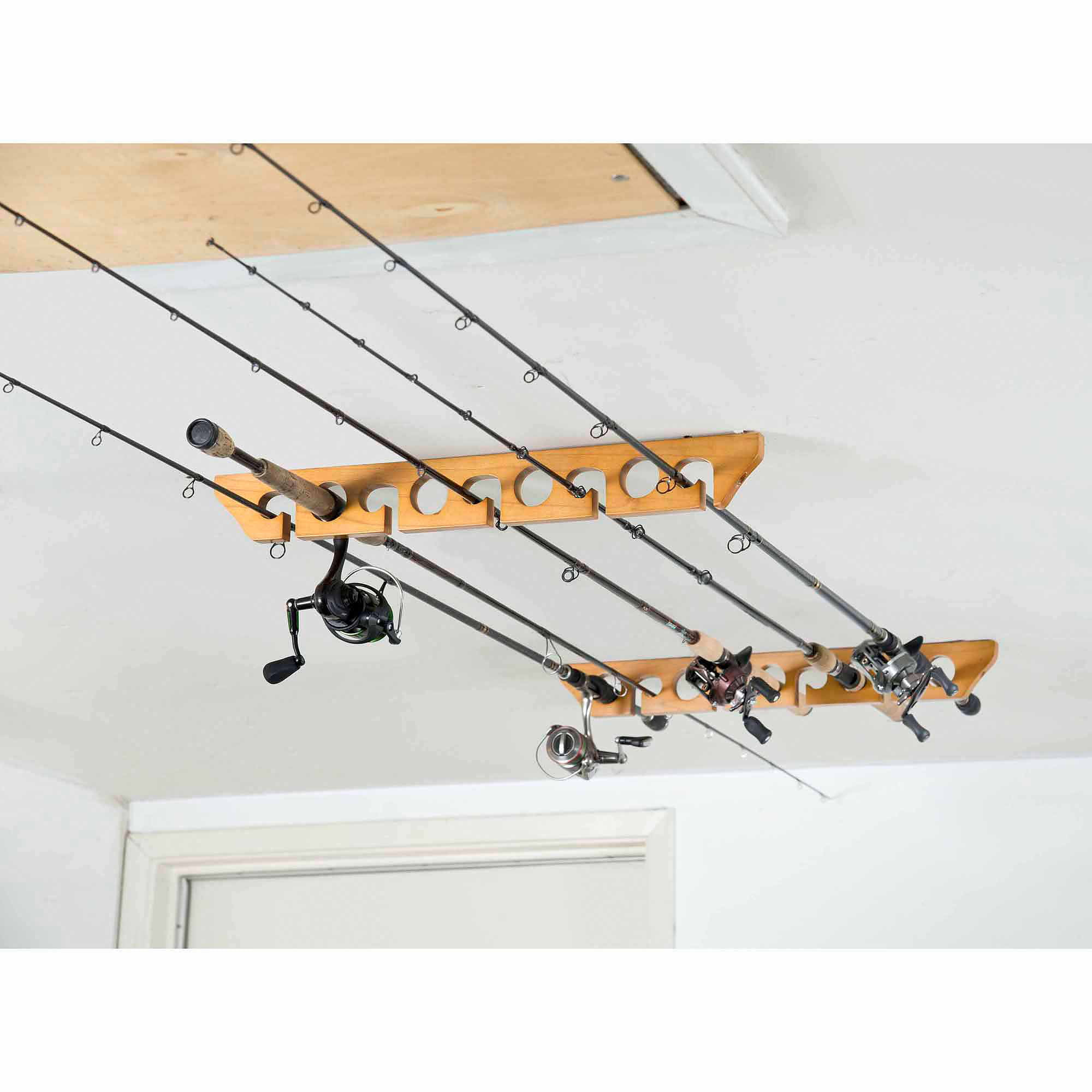 Organized Fishing Wooden Ceiling Horizontal Rod Rack 9 Capacity