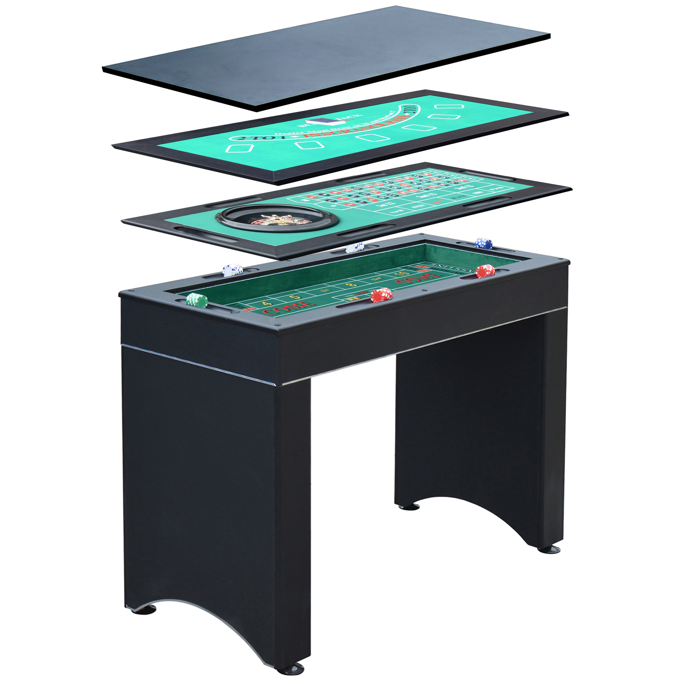 Hathaway Monte Carlo 4-In-1 Multi Game Casino Table with Blackjack, Roulette, Craps and Bar Table – Includes Accessories