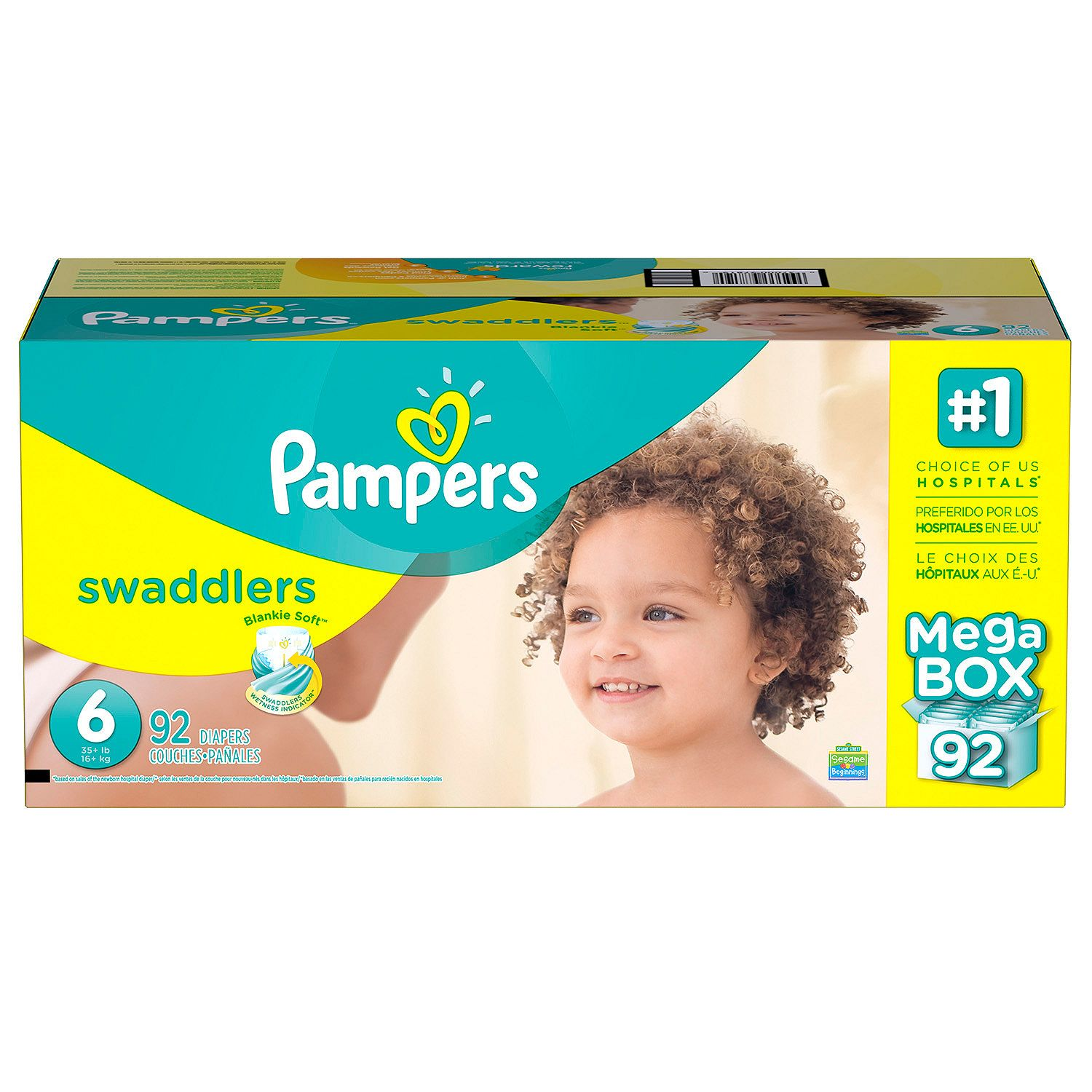 Pampers' Swaddlers Diapers Size 6 - 92 ct. ( Weight 35+ lb.) - Bulk Qty, Free Shipping - Comfortable, Soft, No leaking & Good nite Diapers