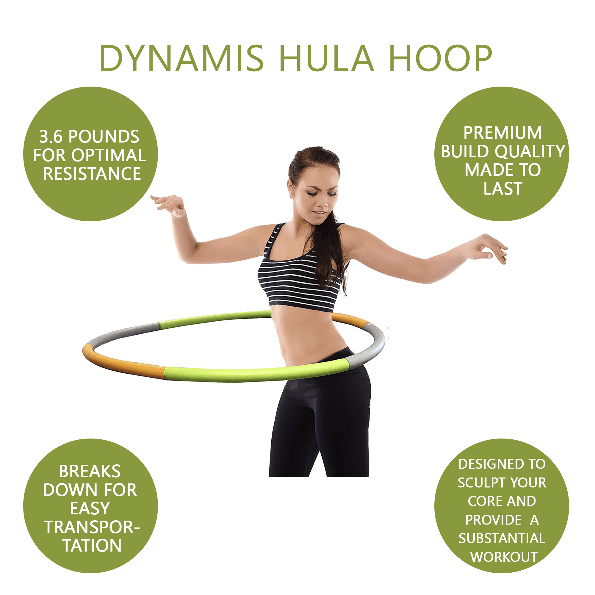 HOMELEX Weighted Hoola Hoop for 8 Section Detachable Belly Fat Burner Jump Rope for Fitness