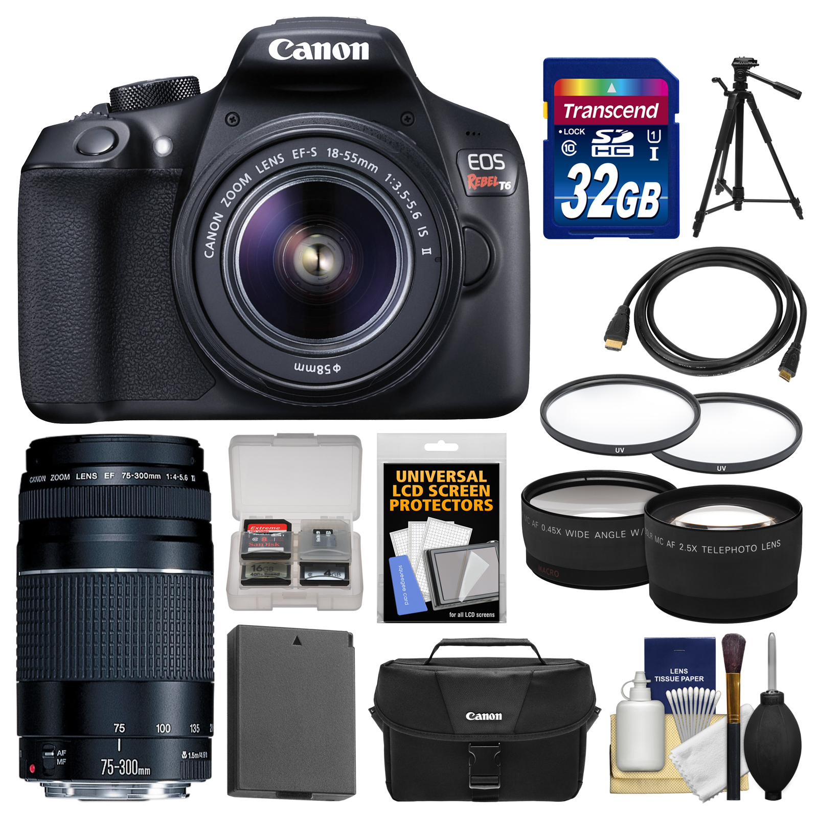 Canon EOS Rebel T6 Wi-Fi Digital SLR Camera & EF-S 18-55mm IS II with 75-300mm III Lens + 32GB Card + Case + Battery + Tele/Wide Lens Kit